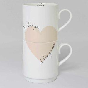 Personalised I Love You I Love You More Stacker Mug Set