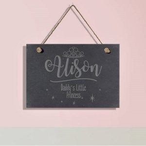 Personalised Little Princess Slate Hanging Sign