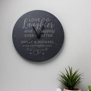 Personalised Love Laughter Slate Clock