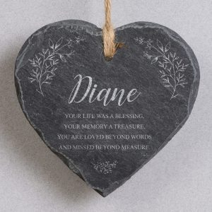 Personalised Memorial Hanging Slate Heart