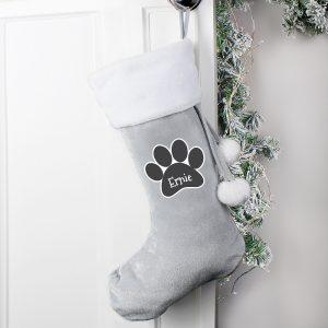 Personalised Paw Print Silver Grey Stocking