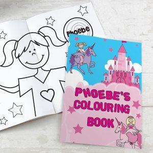 Personalised Princess & Unicorn Colouring Book