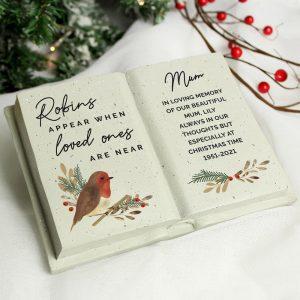 Personalised Robins Appear Memorial Book