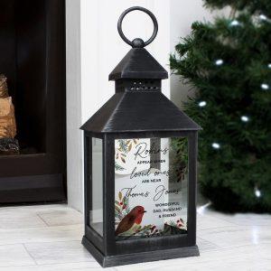 Personalised Robins Appear.. Memorial Black Lantern