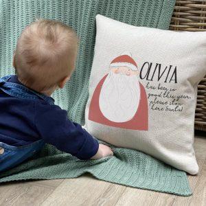 Personalised Santa Stop Here Cushion