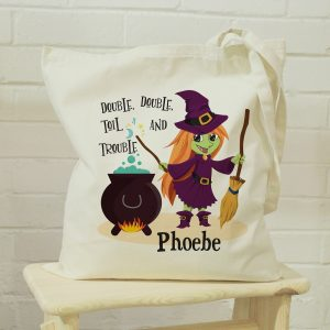 Personalised Toil & Trouble Halloween Treats Tote Bag
