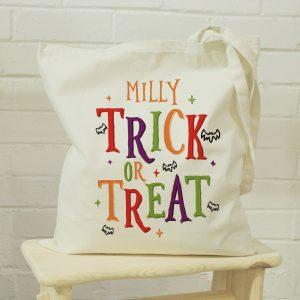 Personalised Trick or Treat Halloween Treats Tote Bag