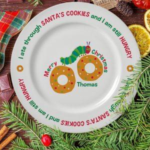 Personalised Very Hungry Caterpillar Santa's Cookies Plate
