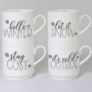 Personalised Winter Motif Stacker Mug