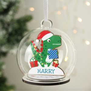 Personalised Wooden Dinosaur Glass Bauble