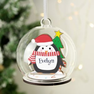 Personalised Wooden Penguin Glass Bauble
