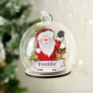 Personalised Wooden Santa Glass Bauble