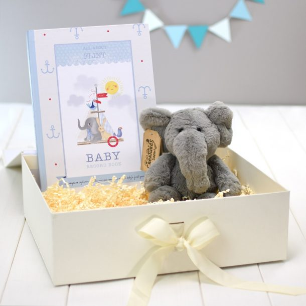Personalised Baby Record Book with Plush Elephant - Boy