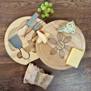 Personalised Daisy Flowers Round Cheese Board