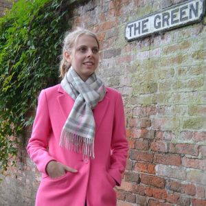 Personalised Grey and Pink Checked Monogram Scarf