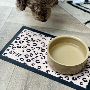 Personalised Leopard Print Pet Bowl Mat