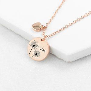 Personalised Rose Gold Dandelion Matte Heart & Disc Necklace