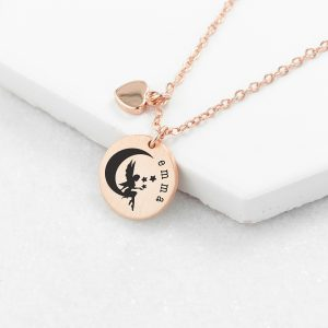Personalised Rose Gold Fairy Matte Heart & Disc Necklace