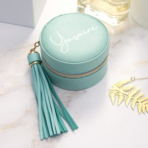 Personalised Turquoise Jewellery Case With Tassel