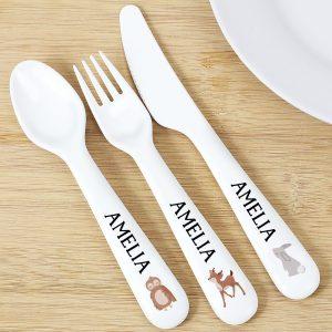 Personalised Woodland Cutlery Set