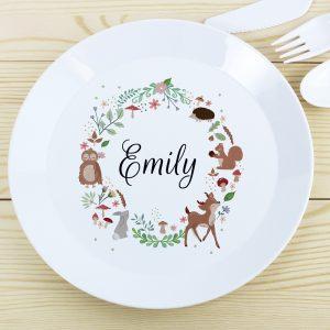 Personalised Woodland Plastic Plate