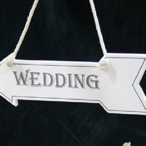 White Wedding Wooden Hanging Arrow