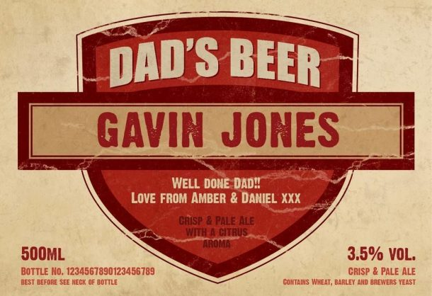 Personalised 3 Pack Dads Beer Set