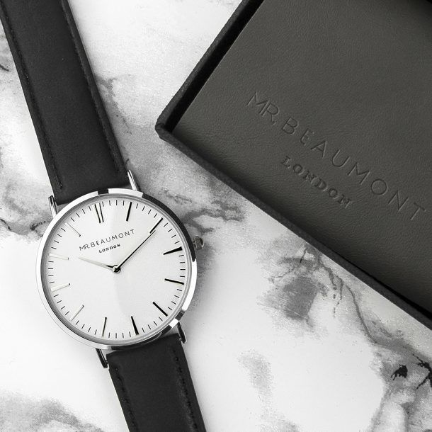 Engraved Modern Men's Leather Watch