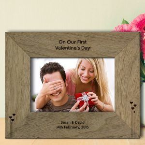 Engraved Our First Valentine's Day Photo Frame