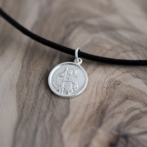 Leather St Christopher Necklace