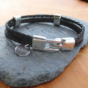 Personalised Men's Leather Clasp Bracelet