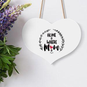 Mum Wooden Heart Hanging Sign