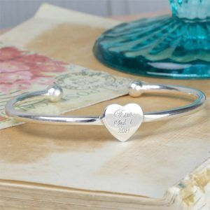 Engraved Heart Baby Bangle