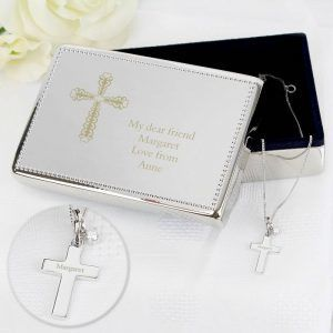 Personalised Engraved Cross Silver Pendant & Jewellery Box