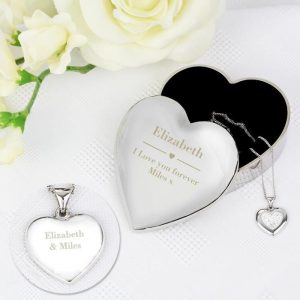 Personalised Engraved Heart Trinket Box & Silver Crystal Heart Pendant