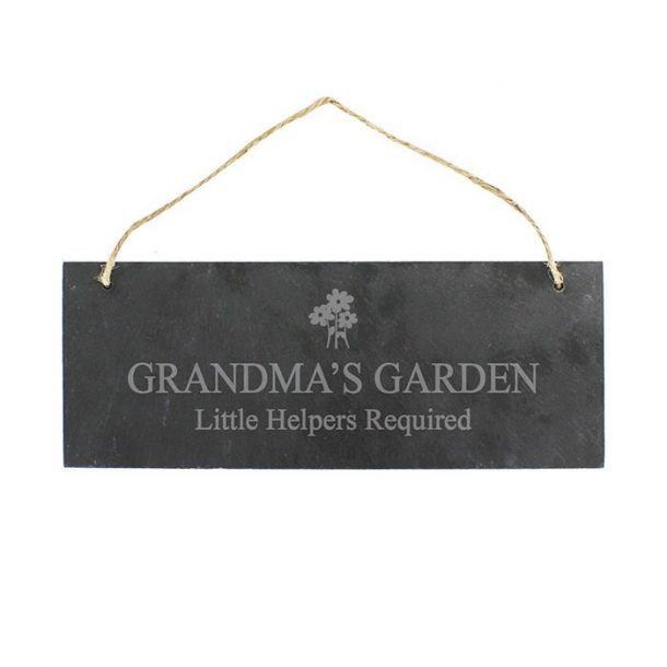 Personalised Flower Motif Slate Sign