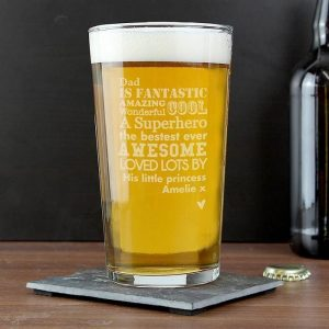 Personalised He Is Pint Glass