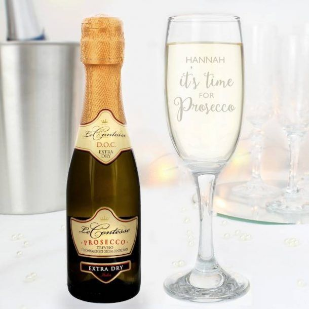 Personalised Its Time for Prosecco Flute & Mini Prosecco Set