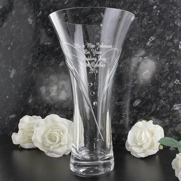 Personalised Swarovski Diamante Heart Vase