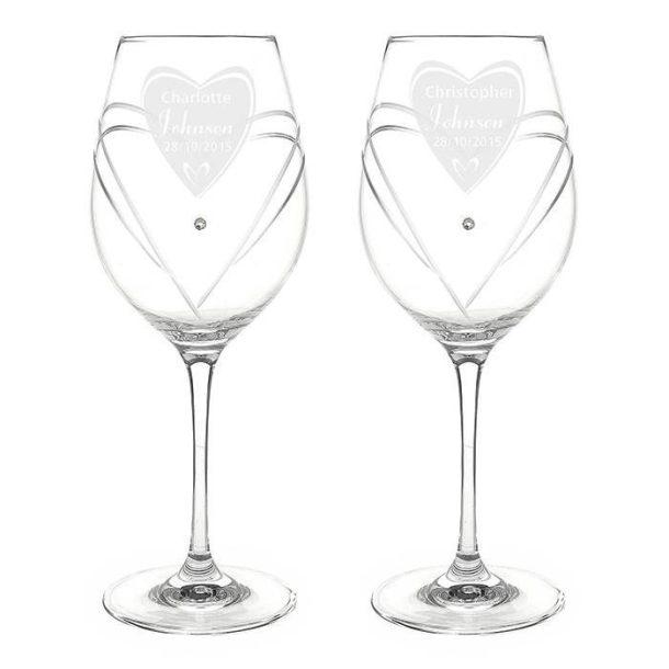 Personalised Heart Diamante Wine Glasses