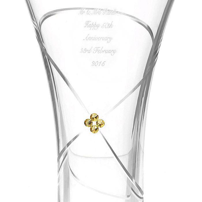 infinity vase. personalised gold swarovski infinity vase