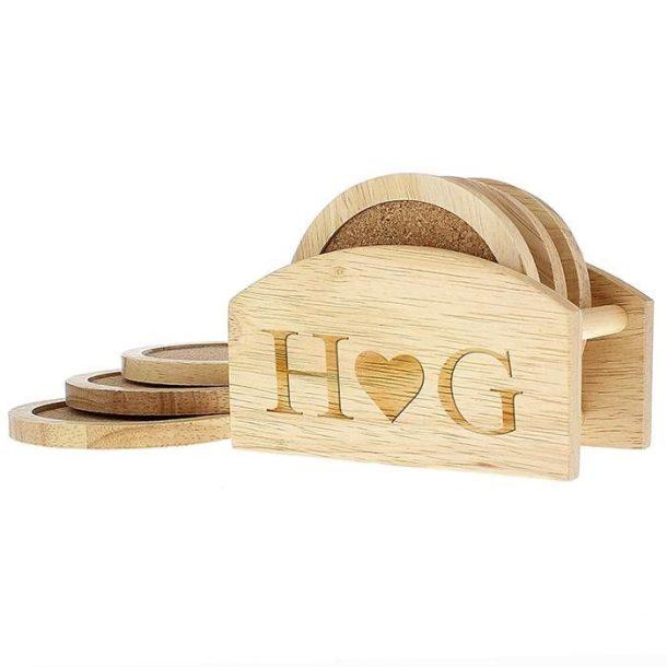 Personalised Monogram Heart Coaster Set