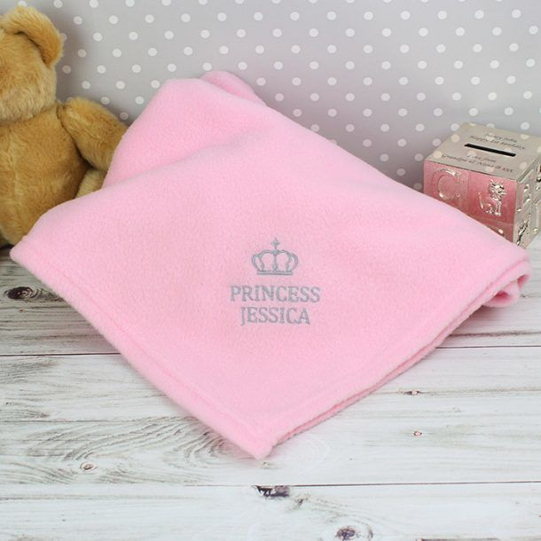 Personalised Pink Princess Baby Blanket
