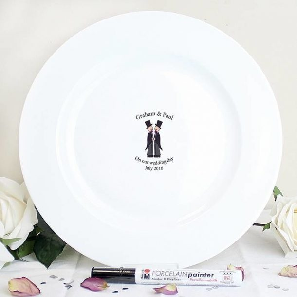 Personalised Male Civil Partnership Message Plate