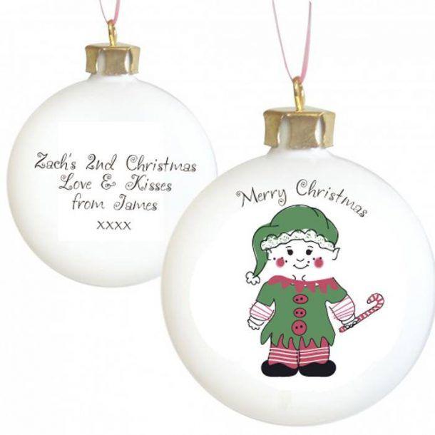 Personalised Cheeky Elf Christmas Bauble