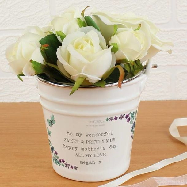 Personalised Forget Me Not Porcelain Bucket