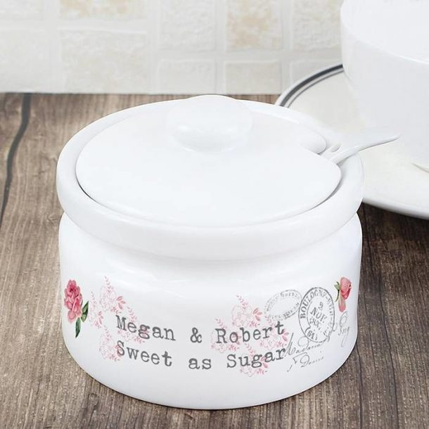 Personalised Antique Rose Jam or Sugar Pot