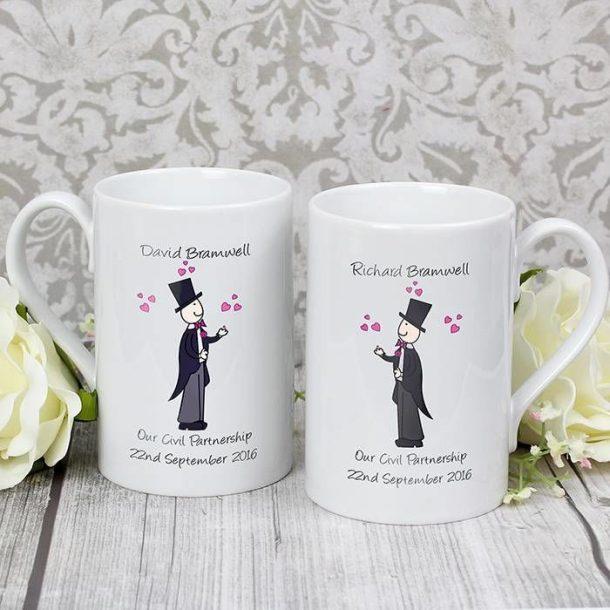 Personalised Male Wedding Mug Set