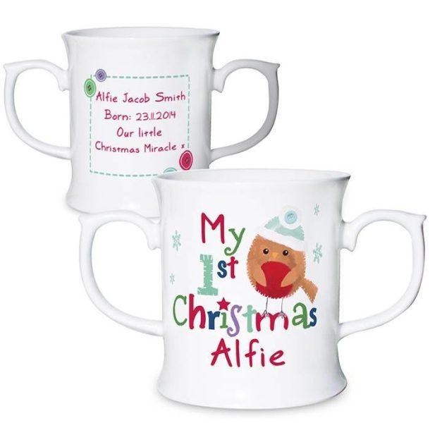 Personalised Felt Stitch Robin 'My 1st Christmas' Loving Mug