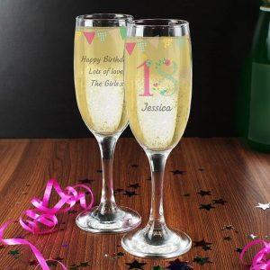 Personalised Birthday Glass Flute